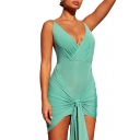 Womens Summer New Fancy Solid Color Sexy V-Neck Sleeveless Knotted Front Open Back Mini Bodycon Cami Dress