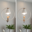 Metal Conical Pendant Light with Little Boy/Girl Study Room 1 Light Contemporary Ceiling Pendant in White