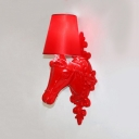 Traditional Tapered Shade Sconce Lamp with Horse Decoration 1 Light Resin Wall Light for Dining Room