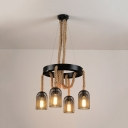 Restaurant Mesh Cage Pendant Light Rope 4 Lights Antique Style Black Suspension Light