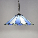 Contemporary Umbrella Shade Ceiling Pendant 1 Light Glass Hanging Light in Blue for Study Room