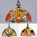 1 Light Rose/Leaf/Tulip Pendant Lamp Tiffany Vintage Stained Glass Ceiling Light for Bedroom