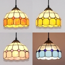 Contemporary Dome Pendant Lighting 1 Light Glass Ceiling Light in Blue/Orange/Pink/Yellow for Bedroom