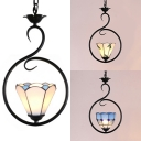 Contemporary Conical/Domed Hanging Lamp One Light Glass Metal Hanging Light with Black Ring for Hallway