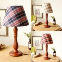 1 Light Plaid Reading Light Antique Style Fabric Desk Light in Blue/Red/White for Living Room