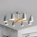 Nordic Style Gray/Green Chandelier Bucket & Antlers 8 Lights Metal Hanging Light for Kindergarten