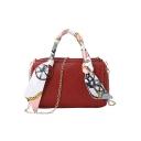 Chic Plain Silk Scarf Embellishment Satchel Tote Bag For Women 17*8*11 CM