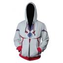 Trendy Grey 3D Colorblocked Comic Cosplay Costume Long Sleeve Zip Front Drawstring Hoodie