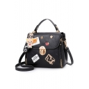 Cool Graphic Leopard Patchwork Letter Ribbon Bear Pendant Embellishment Double Zipper Side School Satchel Bag 22*13*19 CM