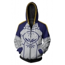 New Fashion Basic Long Sleeve Casual Loose Zip Up Grey and Blue Drawstring Hoodie