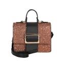Fashion Plain Belt Buckle Small Sequined Satchel Shoulder Bag for Ladies 21*7*16 CM