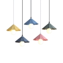 Metal Conical Shade Pendant Light Dining Room One Light Macaron Loft Suspension Light