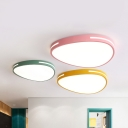 Egg Shape Bedroom Ceiling Lamp Acrylic Nordic Style Candy Colored LED Flush Mount Light