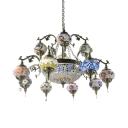 Elegant Dome & Lantern Chandelier Stained Glass 15 Lights Pendant Light for Villa Living Room