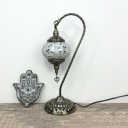 Turkish Style Orb Table Lamp Stained Glass Single Light Plug-In Desk Light for Study Room
