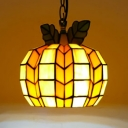 Tiffany Antique Melon Pendant Light 1 Light Stained Glass Hanging Light in Orange for Restaurant