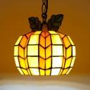 Tiffany Antique Melon Pendant Light 1 Light Stained Glass Hanging Light in Orange for Restaurant