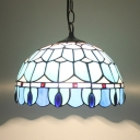 1 Light Peacock Tail Pendant Light Tiffany Antique Stained Glass Hanging Light in Blue for Foyer