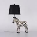 Modern Tapered Shade Desk Light with Zebra Resin 1 Light Black Study Light for Boy Bedroom