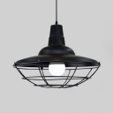 1 Light Double Bubble Pendant Light with Cage Vintage Metal Hanging Lamp in Black for Balcony