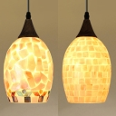 Restaurant Melon Hanging Light Shell 5 Inch Tiffany Style Multi-Color/White Pendant Light