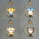 Tiffany Style Brass Hanging Light Dome Shade 1 Light Glass Metal Ceiling Pendant for Cafe Bar