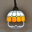 Kid Bedroom Lattice Dome Pendant Light with Telephone Cord Glass 1 Head Tiffany Style Orange/Yellow Hanging Light