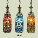 Turkish Blue/Gold/Red Hanging Lamp 1/3 Pack Cylinder 1 Light Glass Ceiling Pendant for Bar(not Specified We will be Random Shipments)