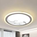Dolphin Sea Bedroom Ceiling Lamp Acrylic Creative LED Flush Mount Light in Warm/White