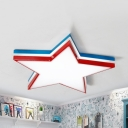 Boys Bedroom Star LED Flush Mount Light Acrylic Cartoon Red/White Ceiling Lamp