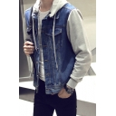 Guys Fashion Fake Two-Piece Patched Long Sleeve Hooded Button Down Blue Denim Coat Jacket