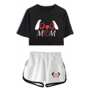 New Fashion Unique Letter DOG MOM Print Cropped Tee with Dolphin Shorts Sport Two-Piece Set