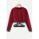 New Fashion Cool Letter Hem Basic Round Neck Long Sleeve Cropped Sweatshirt