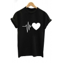 Simple Heart Pattern Basic Round Neck Short Sleeve Relaxed T-Shirt