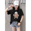 Summer Fashion Figure Pattern Round Neck Short Sleeve Loose Relaxed T-Shirt