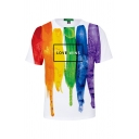 Pride Month Cool 3D Pattern Basic Round Neck Short Sleeve Fitted T-Shirt