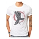 Bird Totem Pattern Round Neck Short Sleeve Simple White T-Shirt