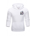 Cool Simple Letter A Pattern Long Sleeve Mens Slim Fitted Hoodie