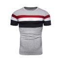 Summer Mens Grey Colorblock Stripe Printed Round Neck Short Sleeve Slim Fit Tee