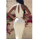 Womens Simple Solid Color White High Neck Sleeveless Midi Sheath Dress