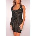 Cool Sexy Hollow Out One Shouler Long Sleeve Hot Drilling Beaded Black Mini Bodycon Night Club Dress