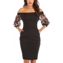 Womens Hot Trendy Chic Floral Embroidery Sleeve Off the Shoulder Midi Pencil Dress