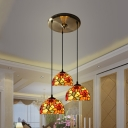 Restaurant Cafe Sunflower Hanging Light Stained Glass 3 Lights Rustic Style Suspension Light