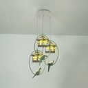 House/Star Balcony Pendant Light Stained Glass 3 Lights Antique Style Pendant Lamp with Pigeon