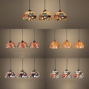 Multi-Color Dome Pendant Light 3 Lights Tiffany Rustic Stained Glass Hanging Light for Balcony