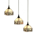 Boat/Deer/House Restaurant Pendant Light Glass 3 Lights Rustic Style Suspension Light