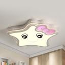 Lovely White LED Flush Ceiling Light Bow Star Acrylic Ceiling Lamp in Warm/White for Nursing Room