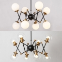 Rotatable 8 Lights Abstract Chandelier Postmodern Clear/Cream Glass Hanging Light in Black for Bar