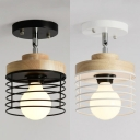 Rotatable Black/White Semi Flush Light with Wire Frame 1 Head Metal Ceiling Light for Corridor
