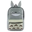 Cute Cartoon Totoro Printed Ear Patched Grey School Bag Backpack